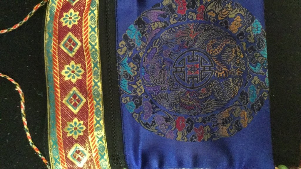 Pair of Silk Embroidered Decorative Bags - 4