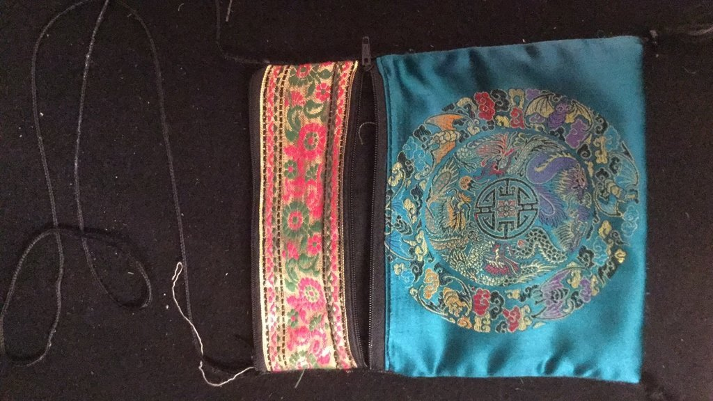 Pair of Silk Embroidered Decorative Bags - 7