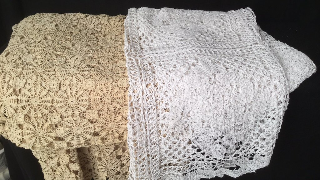2 Crotched Lily Lace Table Covers