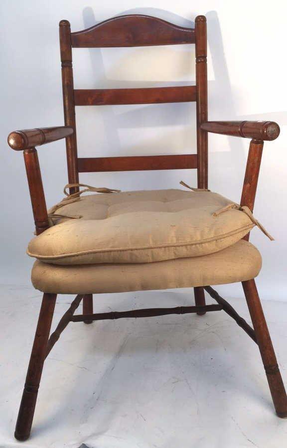Vintage Turned Ladder Back Arm Chair