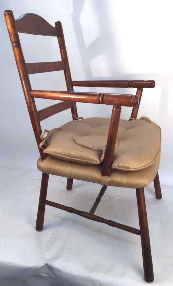 Vintage Turned Ladder Back Arm Chair - 2