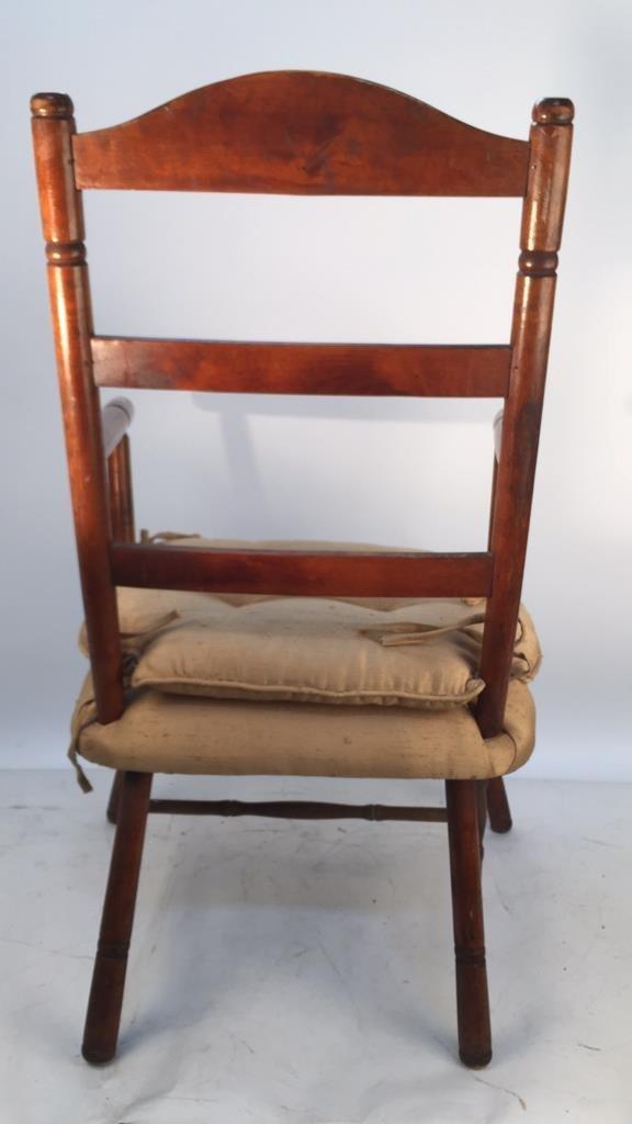 Vintage Turned Ladder Back Arm Chair - 4