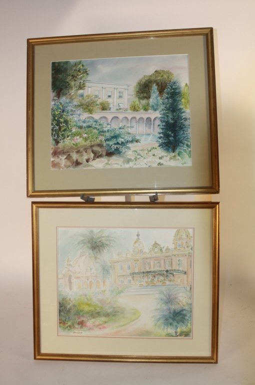 2 Vintage French Watercolors by Giraud