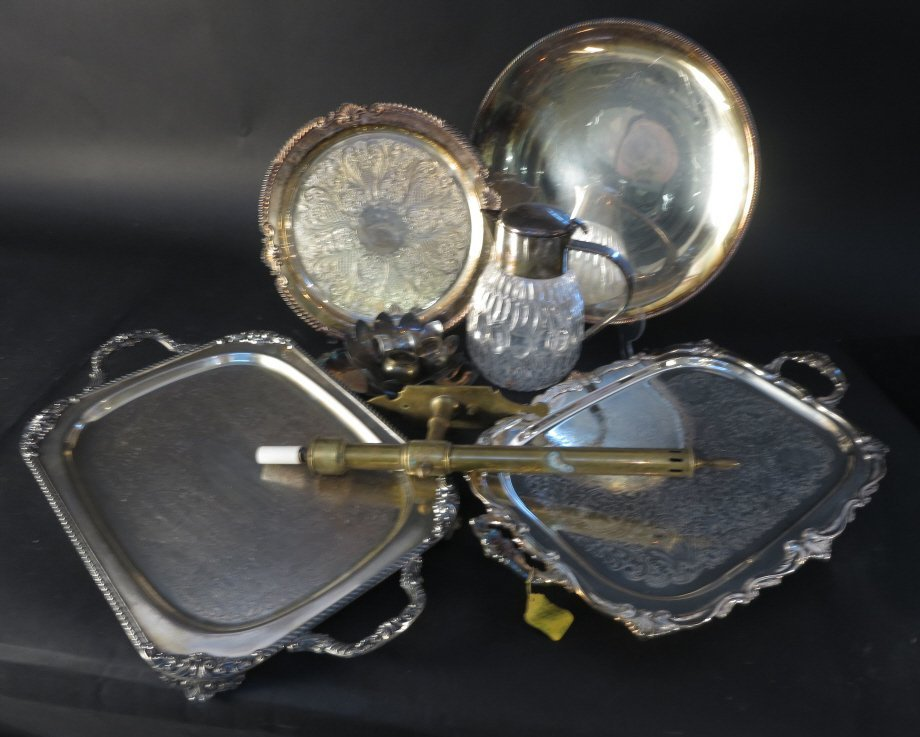 Silver Plate and Sconce Group Lot