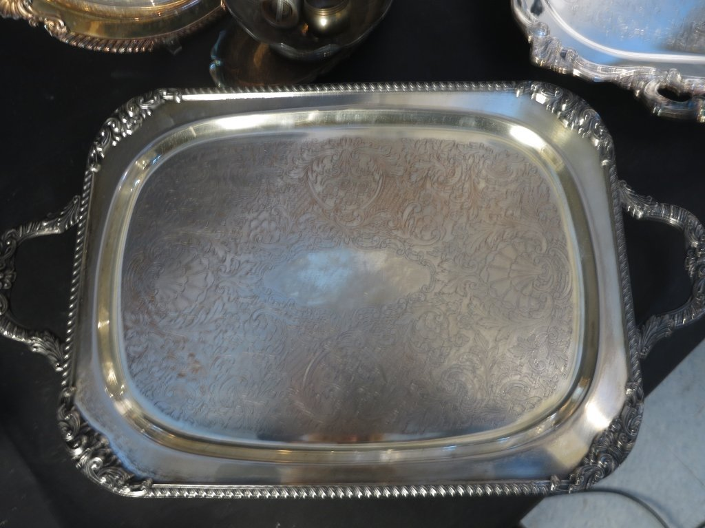 Silver Plate and Sconce Group Lot - 5
