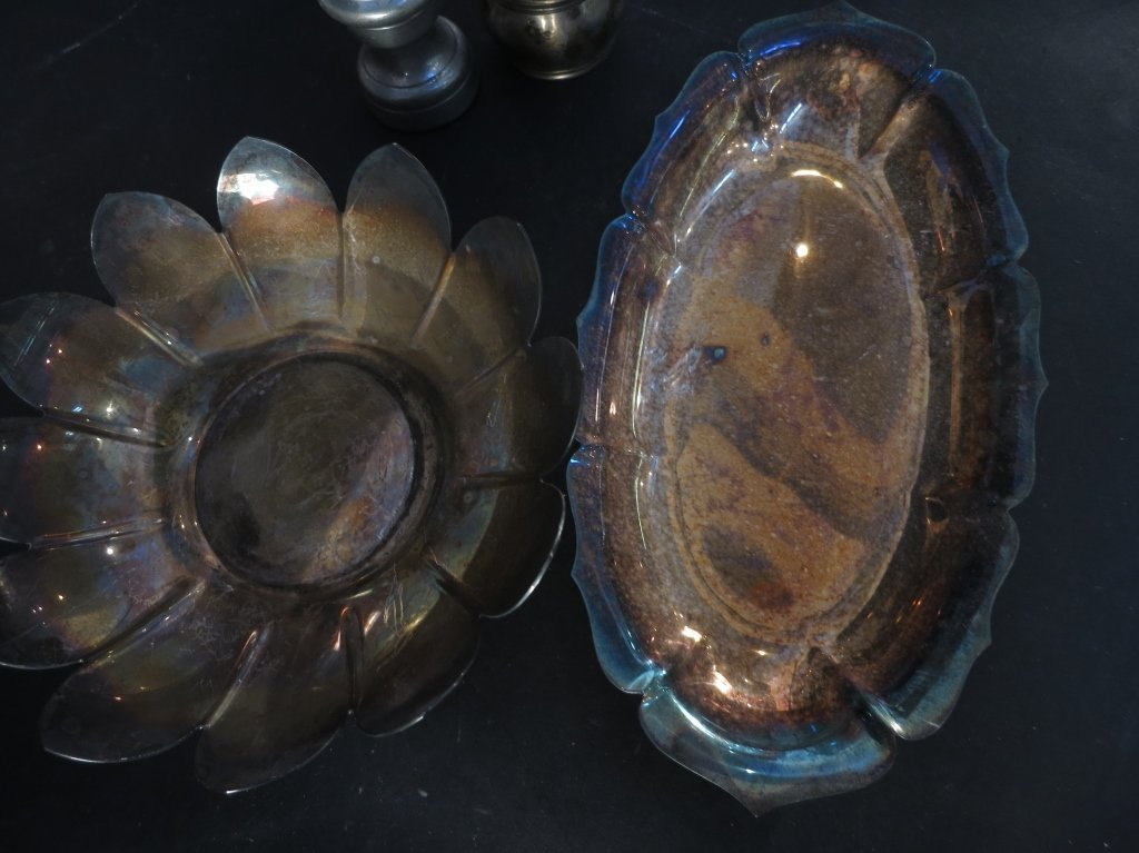 Silver Plate and Sconce Group Lot - 8