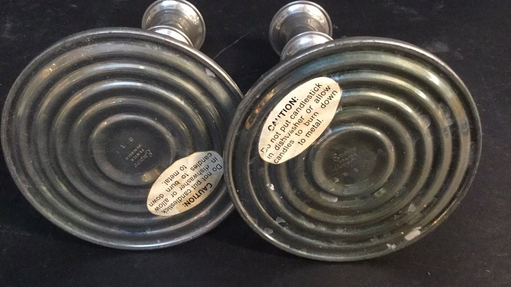 Pair Empire Pewter Weighted Candle Sticks - 6