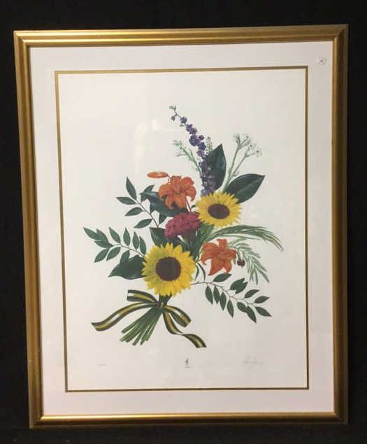 Signed Floral Print Gold Frame 76/300