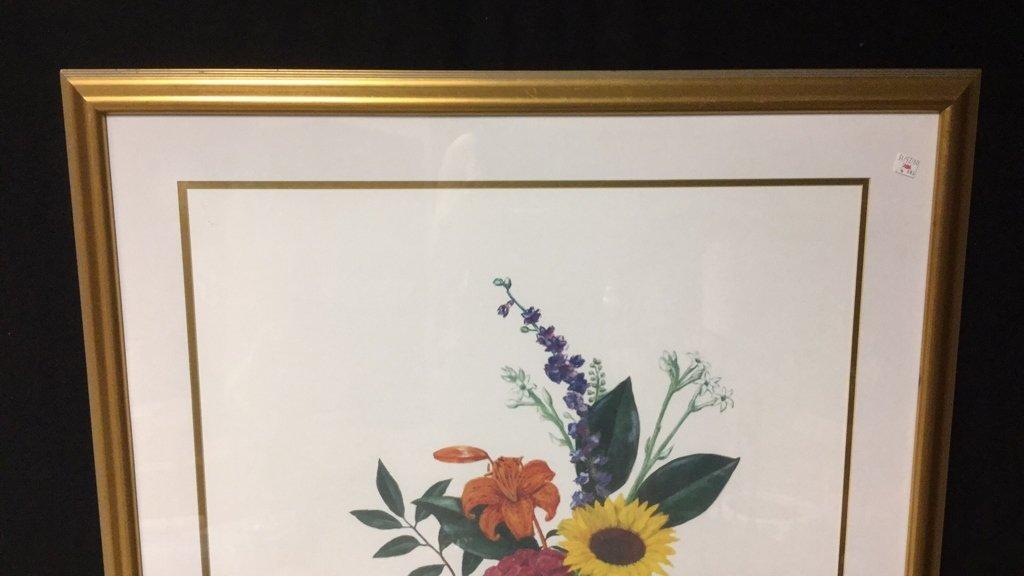 Signed Floral Print Gold Frame 76/300 - 2