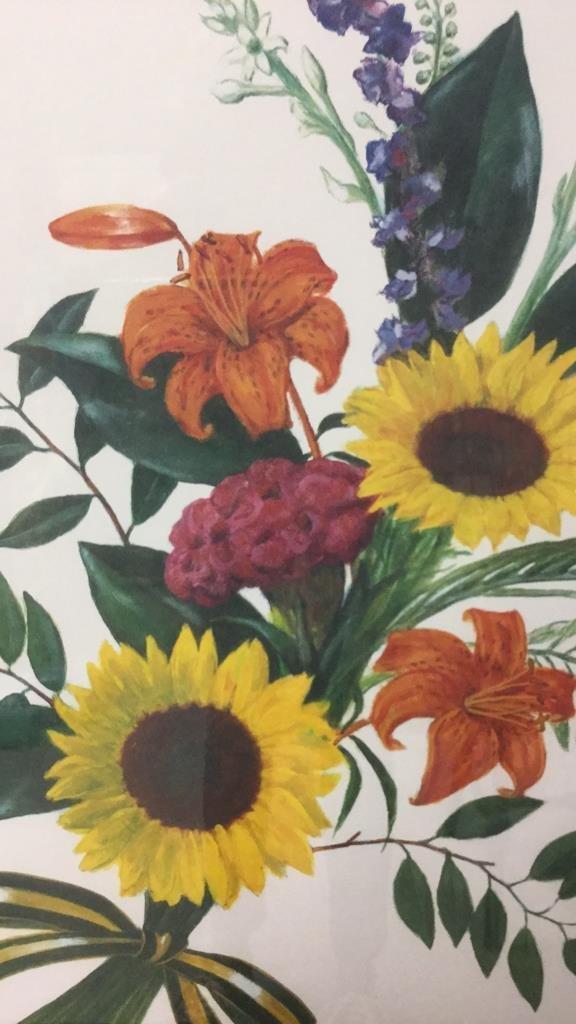 Signed Floral Print Gold Frame 76/300 - 3