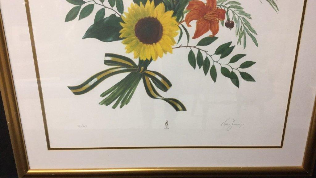 Signed Floral Print Gold Frame 76/300 - 4