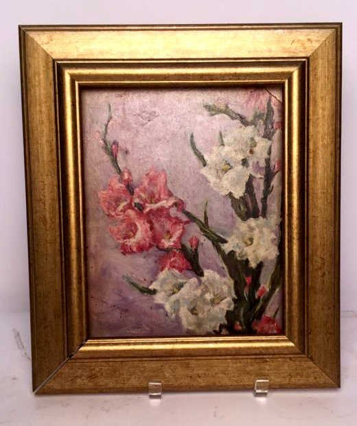 G. M. R. Signed Floral Oil on Board