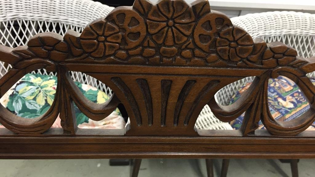Vintage Mirror with Carved Headrail Planter Motif - 2