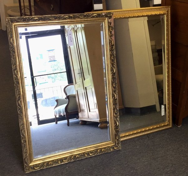 Pair Gold Painted Frame Beveled Mirrors