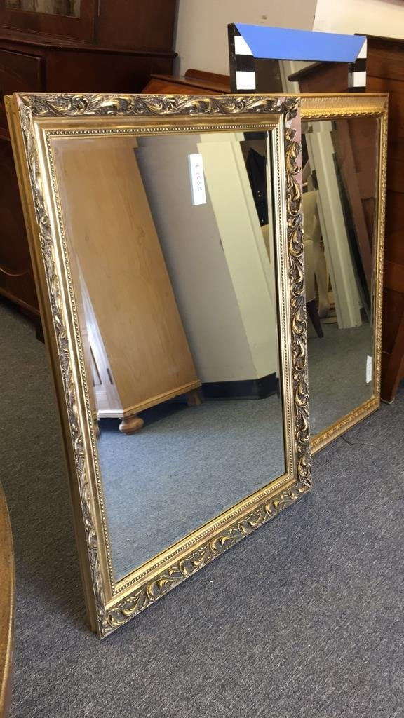 Pair Gold Painted Frame Beveled Mirrors - 2