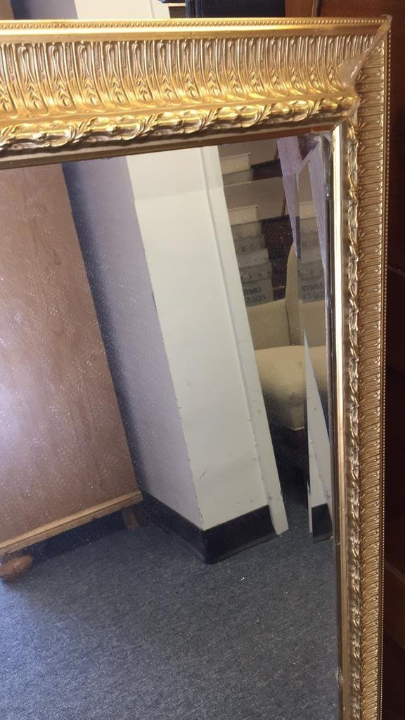 Pair Gold Painted Frame Beveled Mirrors - 4