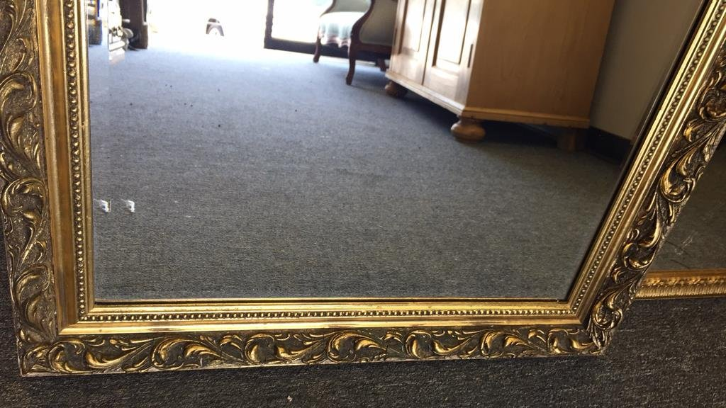 Pair Gold Painted Frame Beveled Mirrors - 5