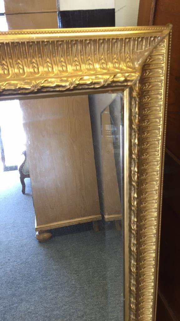 Pair Gold Painted Frame Beveled Mirrors - 6
