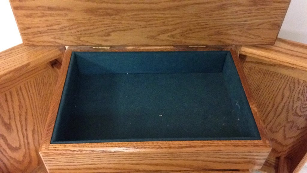 Vintage Teal Velvet Lined Jewlery Box - 4