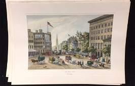 Mid Century Modern Litho New York 1840 Broadway