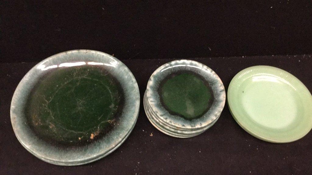 Mixed set of 11 Green Plates