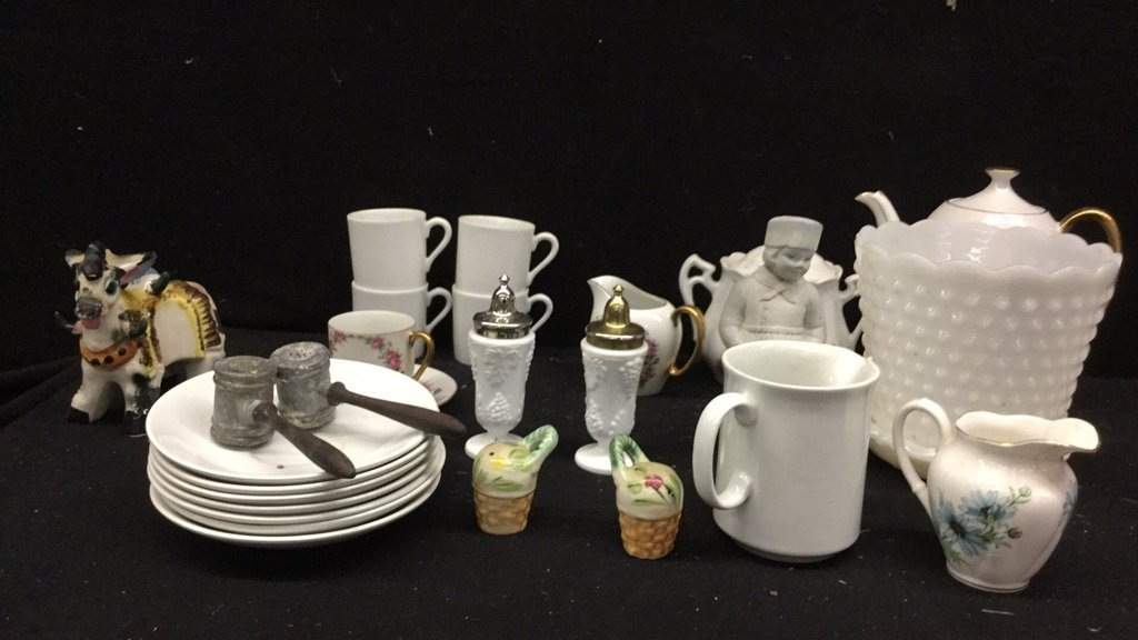 Group lot of White Table Articles