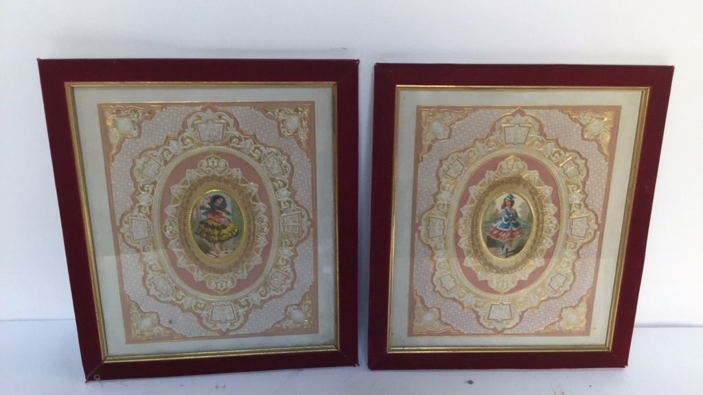 Pair of Gilded Miniature Portraits of Women