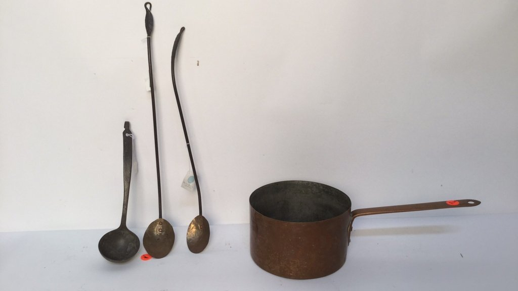 Brass Iron Antique Pot and Spoons