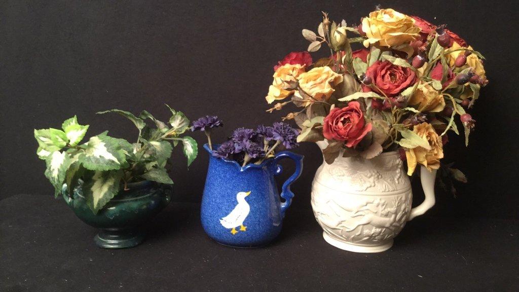 3 Decorative Pitchers with Floral Arrangement