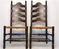 Pair Vintage Ladderback Side Chairs