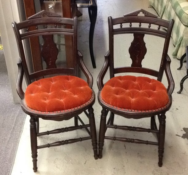 Pair Vintage Wood & Orange Velvet Chairs