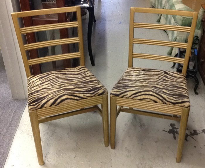 Vintage Gold Brushed Tiger Print Chairs