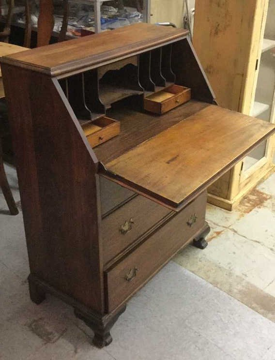 Vintage Drop Front Mahogany Desk