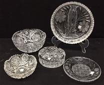 Group Lot Vintage Cut Crystal Table Articles