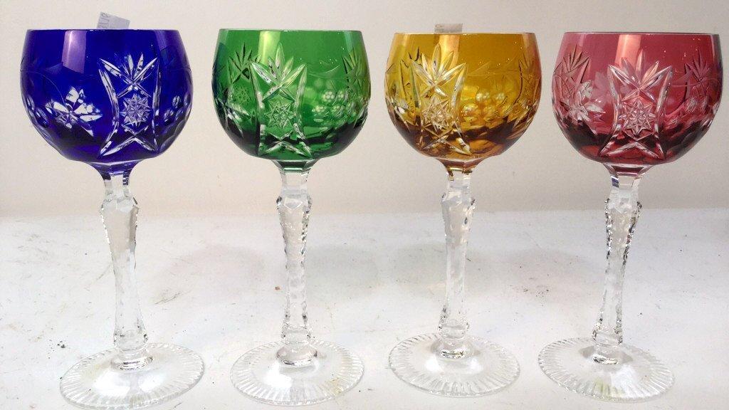 Set of 4 Art Glass Wine Glasses