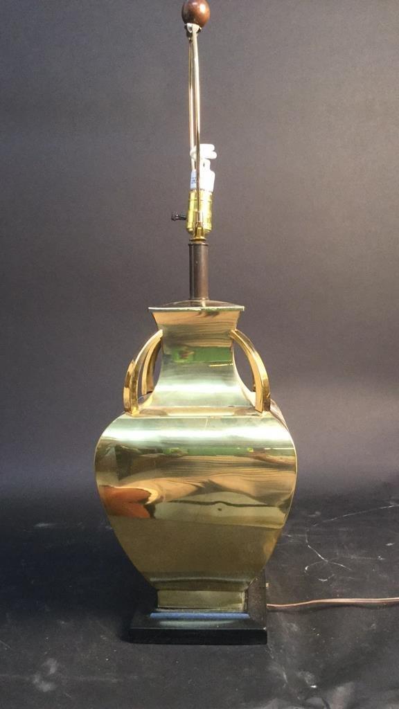 Brass Lamp With Mahogany Wood Base