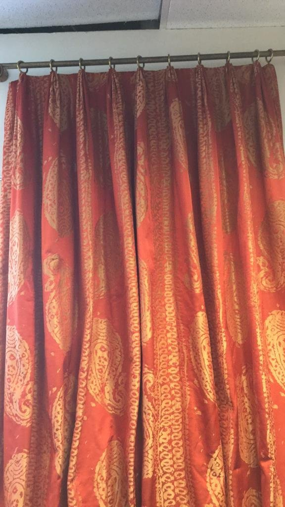 Elegant Set of Red and Gold Window Treatments