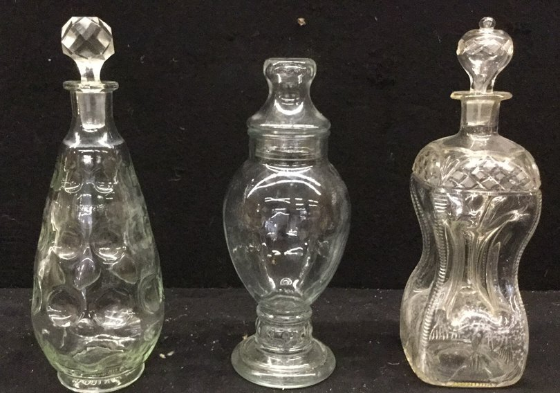 Set of 3 Vintage Glass Decanters