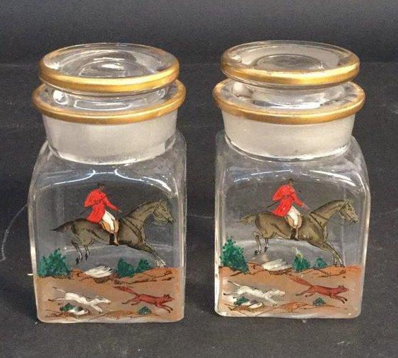 Pair Gold a Painted a Lidded Jars