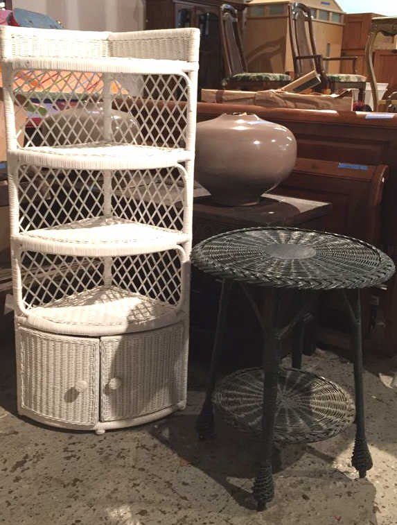 Corner Wicker What Not Shelf and Table