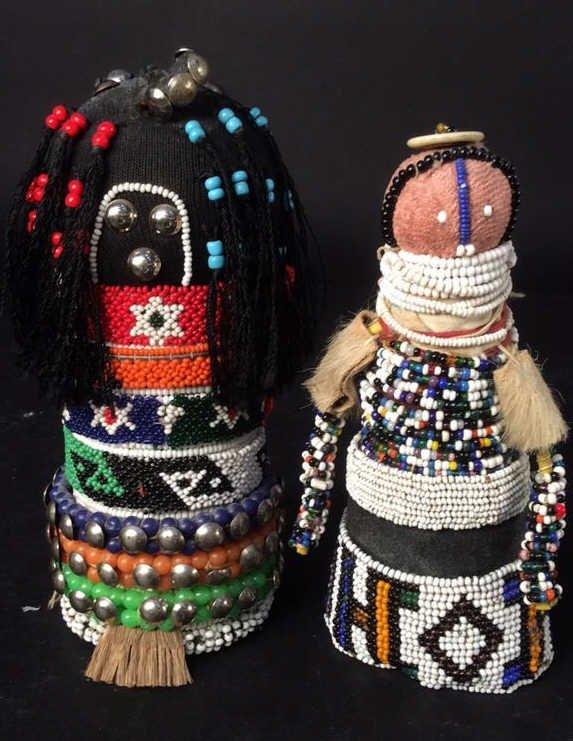 2 Handmade Beaded African Dolls