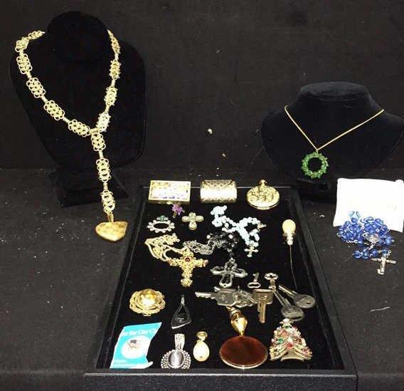 Vintage 27 Piece Jewelry Box Contents Lot