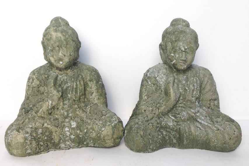 Pair Garden Glaze Seated Buddhas