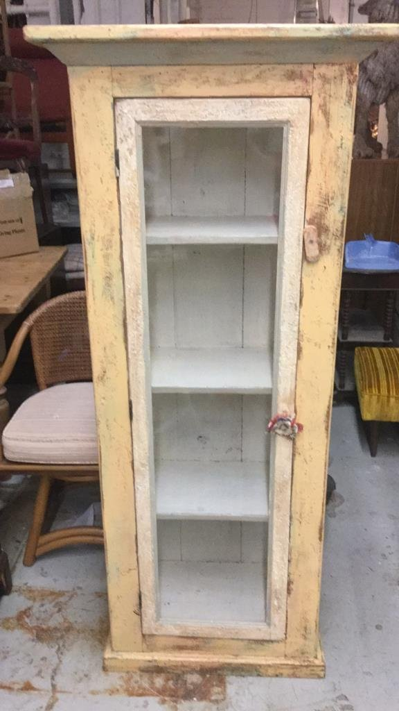 Rustic Country  Style Glass Front Display Cabinet