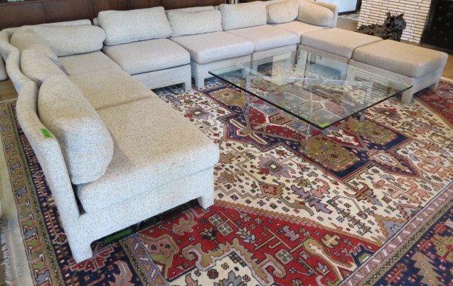 Mid-Century Oatmeal Fabric Sectional Sofa