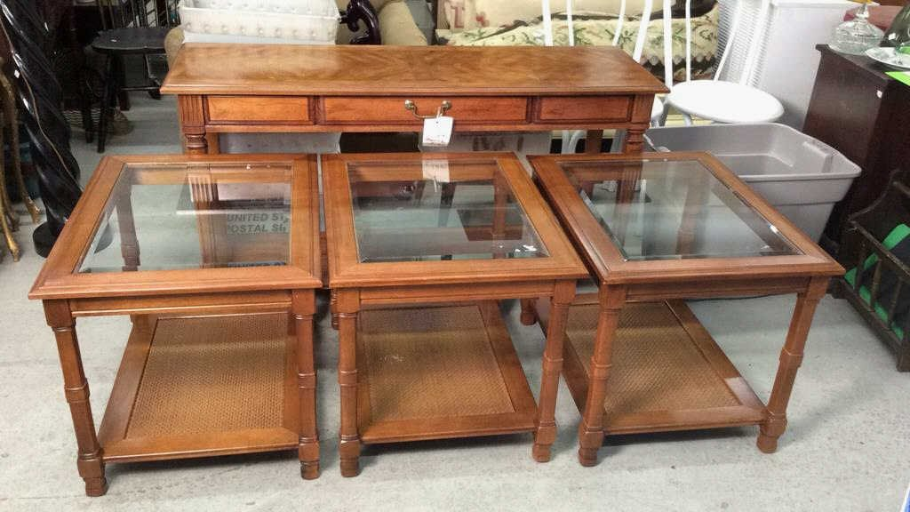 4 Piece Wooden and Glass Table Set