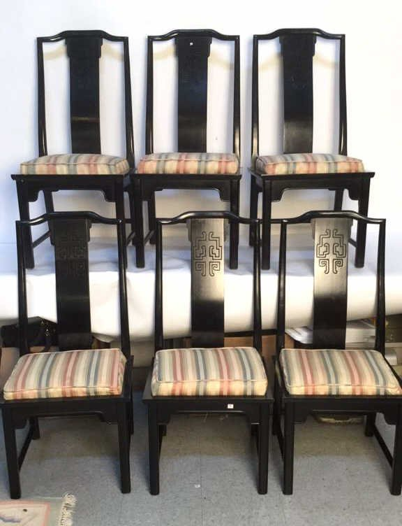 Set of 6 Midcentury Black Side Chairs.