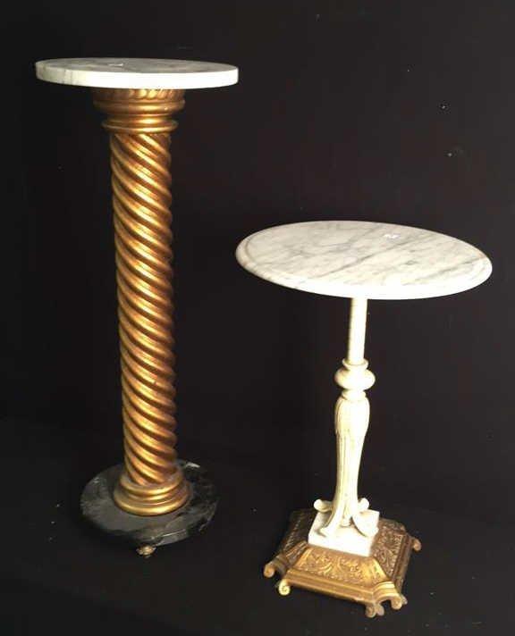 Two Vintage Marble Top Pedestal Tables