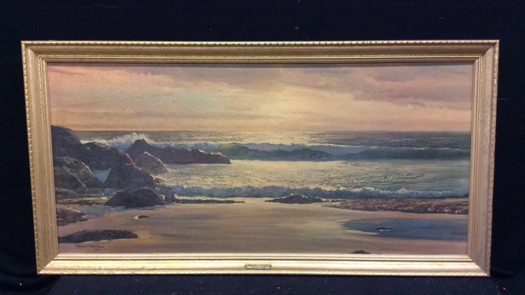 Robert Wood Breakers At Twilight Seascape Print
