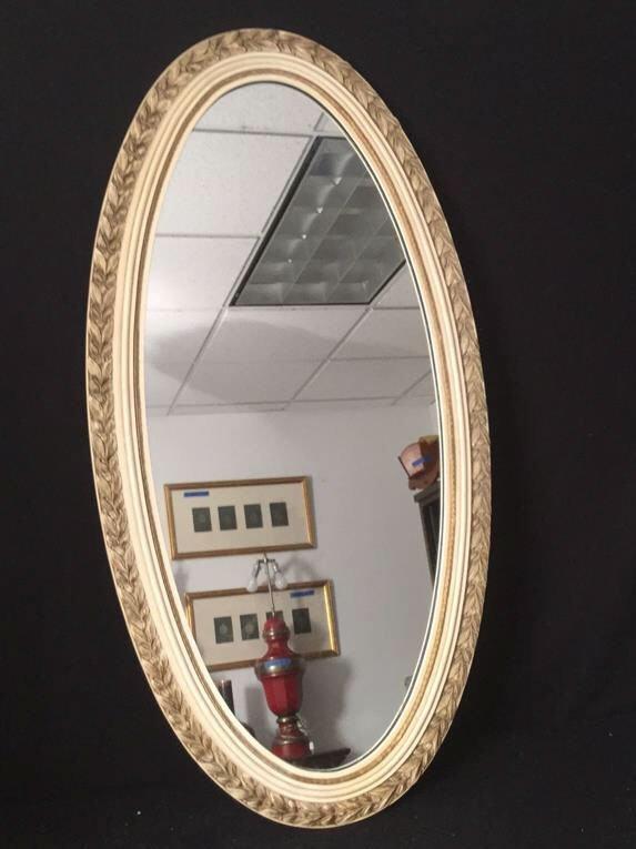 Carved Wood Framed Oval Mirror